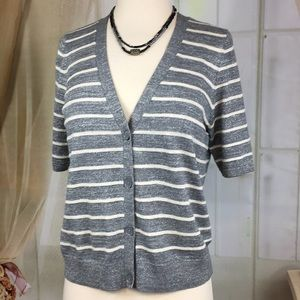 Talbots Short Sleeved Button Down Gray Knit Top